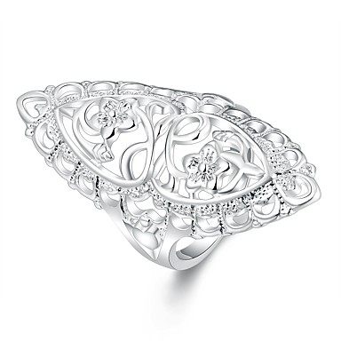 Női Ezüstözött Virág - Alap Ezüst Gyűrű Kompatibilitás Napi / Hétköznapi