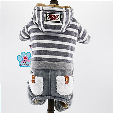 Dog Hoodie / Jumpsuit Dog Clothes British Dark Blue / Gray Plush Fabric Costume For Pets Men's / Women's Casual / Daily