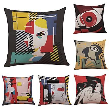 6 pcs Linen / Cotton / Linen Pillow Cover / Pillow Case, Textured Traditional / Classic / Bolster / Beach Style