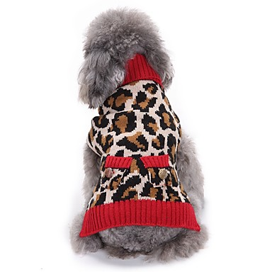 Cat Dog Coat Sweater Christmas Dog Clothes Leopard Leopard Spandex Cotton/Linen Blend Costume For Pets Party Casual/Daily Cosplay Keep