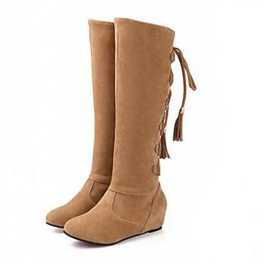 Damen Schuhe Nubukleder Herbst Winter Modische Stiefel Stiefel Für Normal Schwarz Gelb Braun Rosa