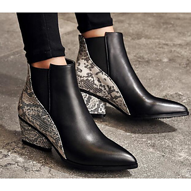 Damen Schuhe Echtes Leder PU Herbst Winter Komfort Modische Stiefel Stiefel Für Normal Schwarz