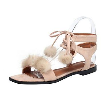 Damen Flache Schuhe Komfort Sommer Beflockung Normal Schwarz Beige Flach