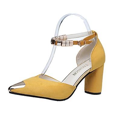 Női Cipő PU Nyár Könnyű talpak Szandálok blokk Heel Erősített lábujj Csat mert Ruha Fekete Sárga Zöld Rózsaszín