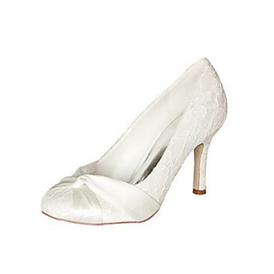 Women's Shoes Stretch Satin Spring / Fall Basic Pump Wedding Shoes Stiletto Heel Round Toe Bowknot Ivory / Party & Evening