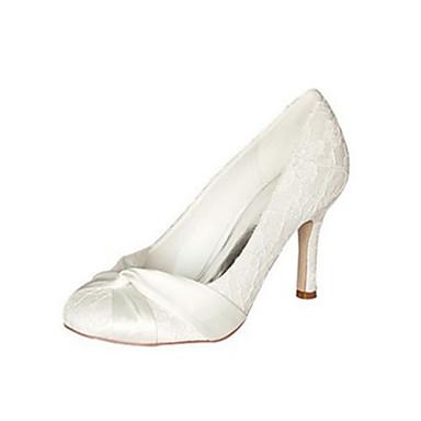 Női Cipő Streccs szatén Tavasz / Ősz Magasított talpú Esküvői cipők Tűsarok Kerek orrú Csokor Kristály / Party és Estélyi
