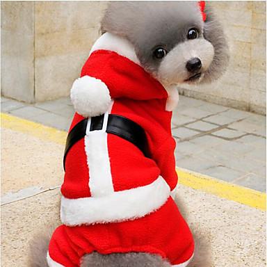 Kutya Kapucnis felsőrész Kutyaruházat Karácsony Piros Plüss anyag Jelmez Háziállatok számára Férfi Női Party Karácsony