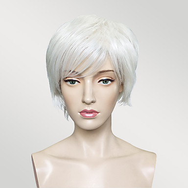 Synthetic Wig Straight White Bob Synthetic Hair White Wig Short Capless White
