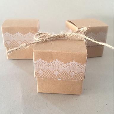 Kocka alakú / köb Kártyapapír Favor Holder val vel Csokor Ajándék dobozok