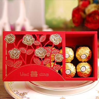 Kreatív Kocka alakú Kártyapapír Gyöngy-papír Favor Holder val vel Minta Ajándék dobozok Ajándékdobozok