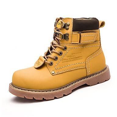 Damen Schuhe Oxford Leder PU Frühling Herbst Komfort Schneestiefel Modische Stiefel Springerstiefel Stiefel Flacher Absatz Geschlossene