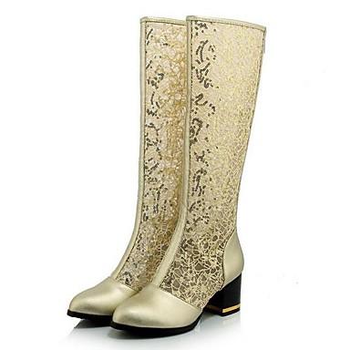 Damen Schuhe Spitze Frühling Komfort Springerstiefel Stiefel Für Normal Gold Weiß Schwarz