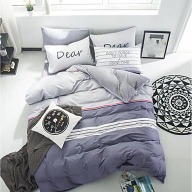 Massiv 4 Stück Baumwolle Baumwolle 1 Stk. Spannbetttuch 4-teilig (1 Bettbezug, 1 Bettlaken, 2 Kissenbezüge)