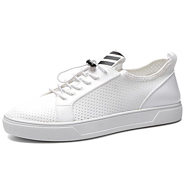 Férfi cipő PU Tavasz / Ősz Kényelmes Sportcipők Gyalogló Fehér / Fekete
