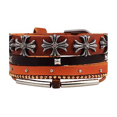 Herr Dam Läder Armband Smycken Personlig Mode Hiphop Handgjord DIY Läder  Trä Legering Kors Blomma Smycken 4686e2e727f55