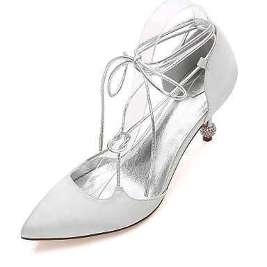 Női Cipő Szatén Tavasz / Nyár Boka pántos / Magasított talpú / D'Orsay és kétrészes Esküvői cipők Magas / Alacsony / Tűsarok Erősített