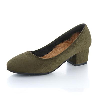 Damen Schuhe Nubukleder Frühling Herbst Komfort Leuchtende Sohlen Loafers & Slip-Ons Walking Blockabsatz Quadratischer Zeh für Normal
