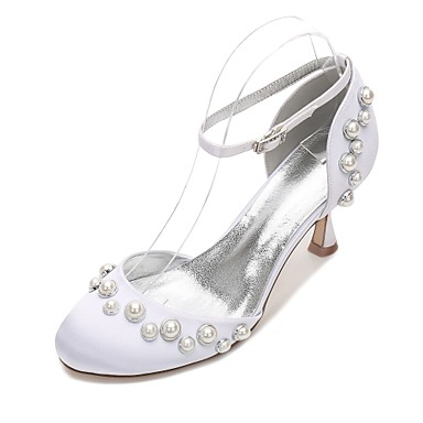 Women's Shoes Satin Spring Summer D'Orsay & Two-Piece Comfort Wedding Shoes Kitten Heel Low Heel Stiletto Heel Round Toe Pearl Imitation