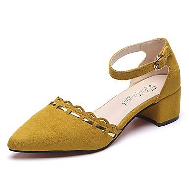 Damen Schuhe Wildleder Sommer Komfort Sandalen Walking Niedriger Heel Runde Zehe für Schwarz / Grau / Gelb