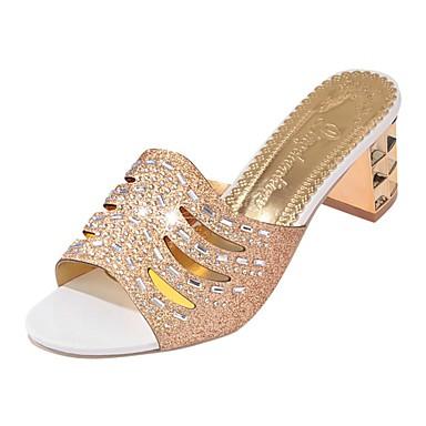 Női Cipő PU Tavasz Könnyű talpak Szandálok blokk Heel Lábujj nélküli Flitter mert Arany Ezüst