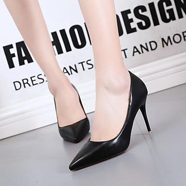 Damen Schuhe PU Frühling Sommer Komfort Pumps formale Schuhe High Heels Stöckelabsatz Spitze Zehe für Kleid Büro & Karriere Schwarz