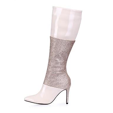Női Cipő PU Tél Divatos csizmák Csizmák Erősített lábujj Hosszú szárú csizmák mert Esküvő Party és Estélyi Kristály