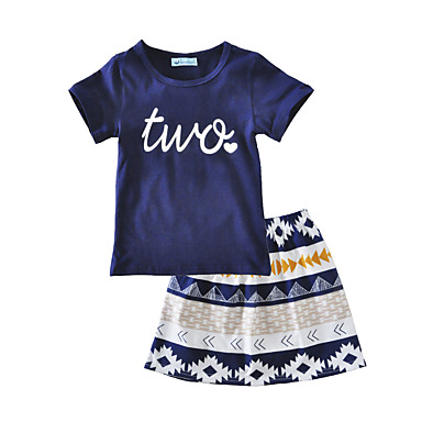 Girls' Floral Clothing Set, Cotton Summer Short Sleeves Navy Blue