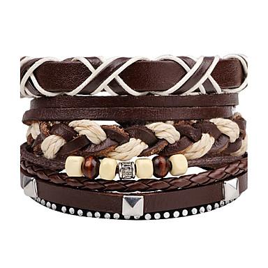 Men's Wrap Bracelet Leather Bracelet - Leather Personalized, Rock Bracelet Brown For Daily Stage Street