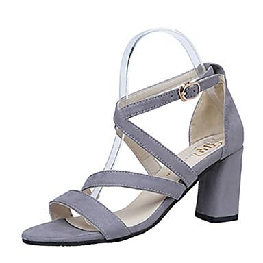 Damen Schuhe PU Frühling Sommer Pumps Sandalen Blockabsatz Offene Spitze Schnalle Für Kleid Party & Festivität Schwarz Grau Rosa