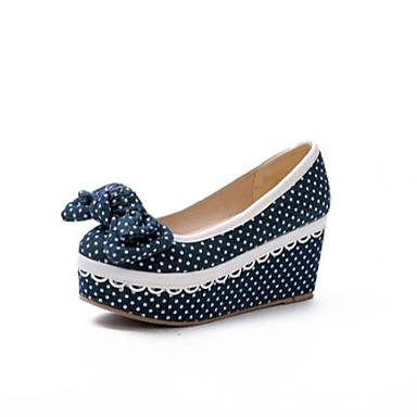 Damen Schuhe Nubukleder Frühling Sommer Komfort High Heels Für Normal Marinenblau Hellblau