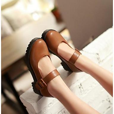 Damen Schuhe PU Sommer Komfort High Heels Für Normal Schwarz Braun Rot
