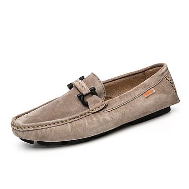 Men's Cowhide Summer / Fall Comfort Loafers & Slip-Ons Walking Shoes Dark Blue / Red / Khaki