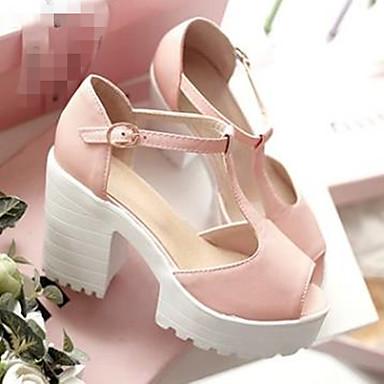 Damen Schuhe PU Sommer Komfort Sandalen Blockabsatz Peep Toe Für Normal Violett Grün Rosa