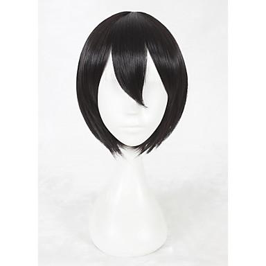 Szintetikus parókák Egyenes Sűrűség Sapka nélküli Női Fekete Jelmez paróka Rövid Szintetikus haj