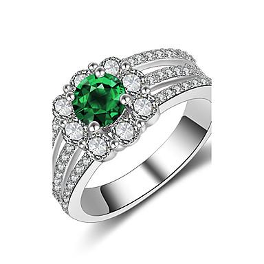 Női Kocka cirkónia / Szintetikus smaragd Band Ring - Ezüst Vintage, Divat, Elegáns 6 / 7 / 8 Sötétzöld Kompatibilitás Esküvő / Eljegyzés / Ünnepség / Szerető