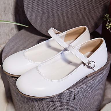 Damen Schuhe PU Frühling Herbst Komfort Bootsschuhe Flacher Absatz Runde Zehe Für Normal Weiß Rosa