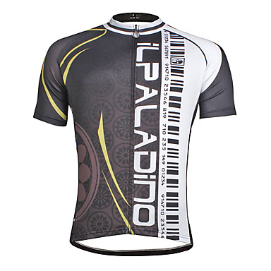ILPALADINO Men's Short Sleeve Cycling Jersey Horizontal Strips Bike Jersey Top, Quick Dry Polyester Coolmax® Eco-friendly Polyester / Stretchy