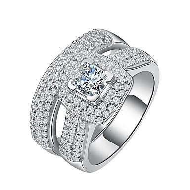 Damen Kubikzirkonia Bandring Sterling Silber Platiert Luxus Elegant Moderinge Schmuck Silber Für Hochzeit Verlobung Zeremonie 6 / 7 / 8 / 9