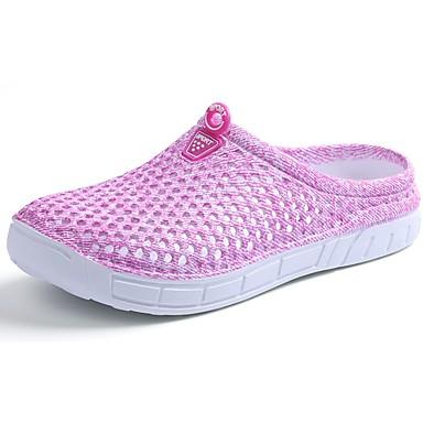 Damen Schuhe Stoff Sommer Herbst Komfort Sandalen Walking Flacher Absatz Runde Zehe Schnürsenkel für Normal Schwarz Purpur Blau Rosa