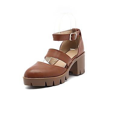 Damen Schuhe PU Sommer Pumps Sandalen Blockabsatz Runde Zehe Kombination Für Hochzeit Party & Festivität Schwarz Beige Braun Hellblau