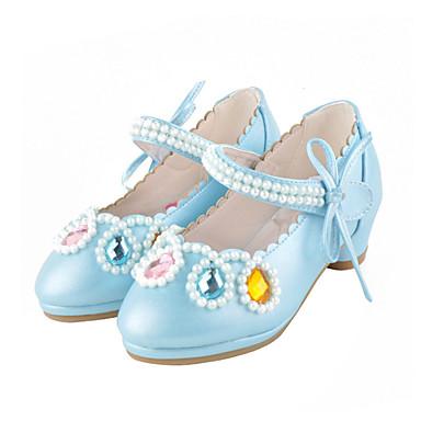 Lány Cipő Bőrutánzat Ősz Tél Virágoslány cipők Újdonság Kényelmes Lapos Kristály mert Hétköznapi Ruha Fehér Kék Rózsaszín