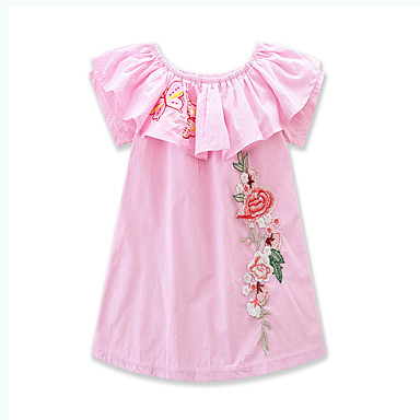 Girl's Striped Floral Dress, Cotton Polyester Summer Short Sleeves Stripes Blushing Pink