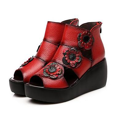 Damen Schuhe Leder Sommer Komfort Sandalen Für Normal Schwarz Rot