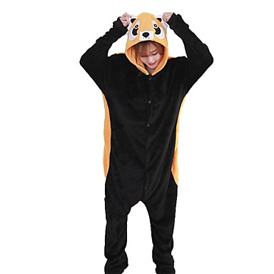 Adults' Kigurumi Pajamas Raccoon Onesie Pajamas Flannel Fabric Black Cosplay For Men and Women Animal Sleepwear Cartoon Halloween Festival / Holiday