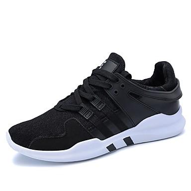 للرجال أحذية PU ربيع / خريف نعال خفيفة أحذية رياضية الركض رمادي / أسود وأبيض / أسود / أحمر