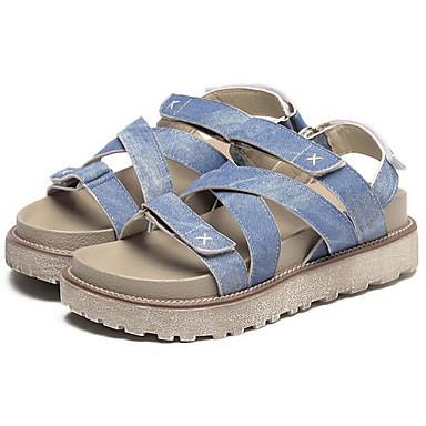Damen Schuhe Künstliche Mikrofaser Polyurethan Sommer Komfort Sandalen Für Normal Hellblau Mandelfarben