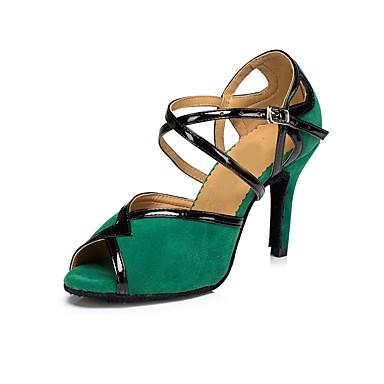 Női Latin cipők Bőrutánzat Szandál Otthoni Személyre szabott sarok Dance Shoes Fekete / Piros / Zöld