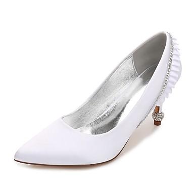 Női Cipő Szatén Tavasz / Nyár Kényelmes / Magasított talpú Esküvői cipők Cicasarok / Magas / Alacsony Erősített lábujj Strasszkő /
