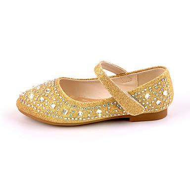 Lány Cipő Szintetikus Mikrorost PU Tavaszi nyár Virágoslány cipők Újdonság Kényelmes Lapos Strasszkő Csat mert Hétköznapi Ruha Arany