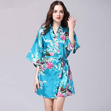 abordables Lencería de Mujer-Mujer Bata / Satén y Seda Ropa de dormir - Estampado Floral Bleu Ciel Azul Real Lavanda L XL XXL